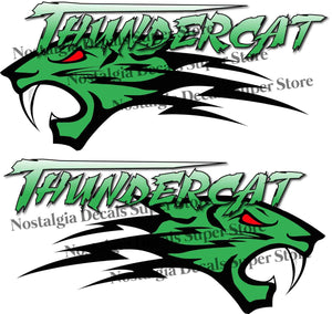 "Arctic Cat Thundercat Green Decals Pair - 14"" x 6"" 