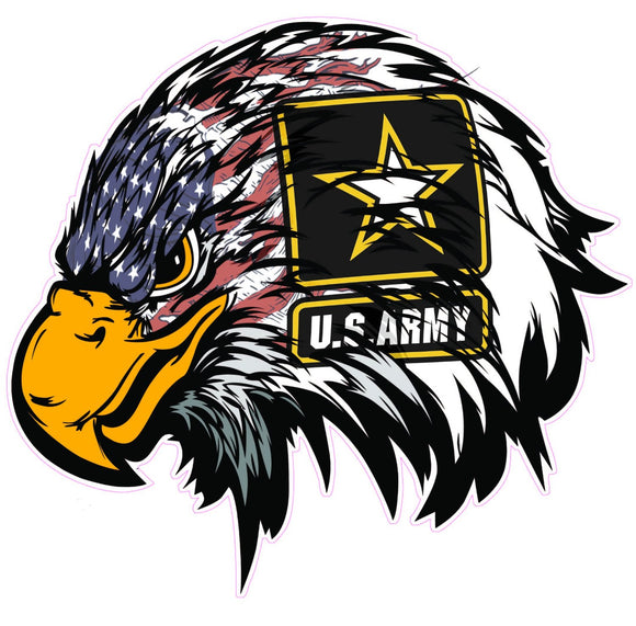 Army American Flag Eagle Head Decal  | Nostalgia Decals Online military window stickers for cars and trucks, army vinyl decals for cars, army vinyl stickers, die cut vinyl army decals