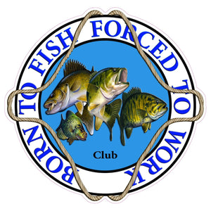 "Born to Fish Forced to Work Club Decal - 5"" x 5"" 