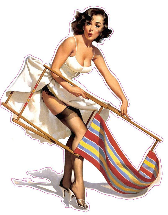 Brunette with Lawn Chair Pin Up Girl Decal - | Nostalgia Decals Online pinup girl decals, vinyl pin up girl stickers, pin up girl graphics for cars