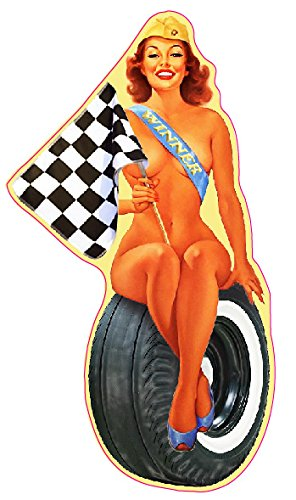 Checkered Flag Pin Up Girl Decal - | Nostalgia Decals Online pinup girl decals, vinyl pin up girl stickers, pin up girl graphics for cars