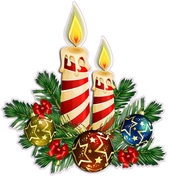 Christmas Candle Wall or Window Decor Decal - 12