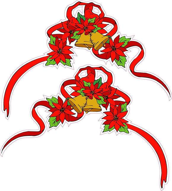 Christmas Poinsettia Corner Ribbon Pair Window and Wall Decor Decal - 12
