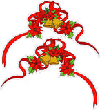 "Christmas Poinsettia Corner Ribbon Pair Window and Wall Decor Decal - 12""x8"" 