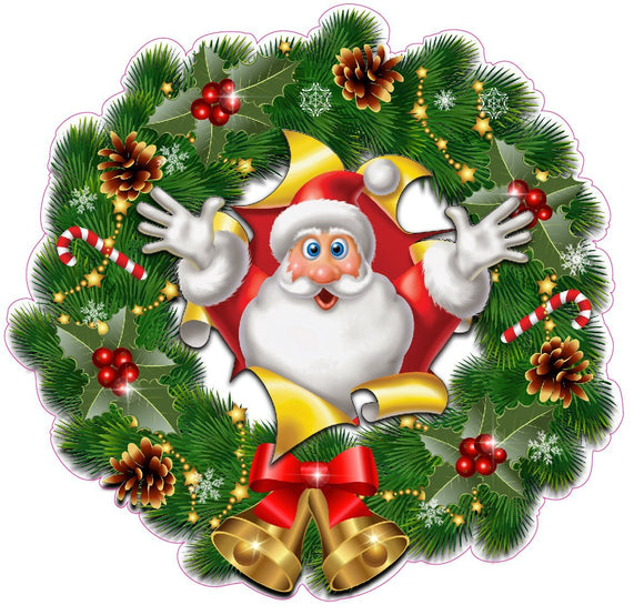 Christmas Wreath with Bells and Santa Busting Thru Window and Wall Decor Decal - 12