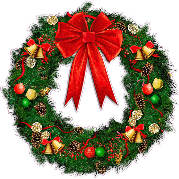 Christmas Wreath with Ribbon and Bells Wall Decor Decal - 12