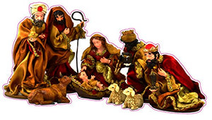 "Christmas and Holiday Manger Scene Baby Jesus Window and Wall Decor Decal - 12""x7"" 
