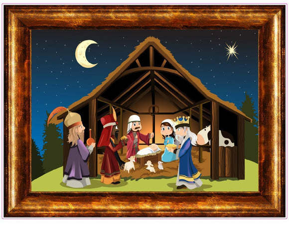 Christmas and Holiday Manger Scene Window and Wall Decor Decal - 24