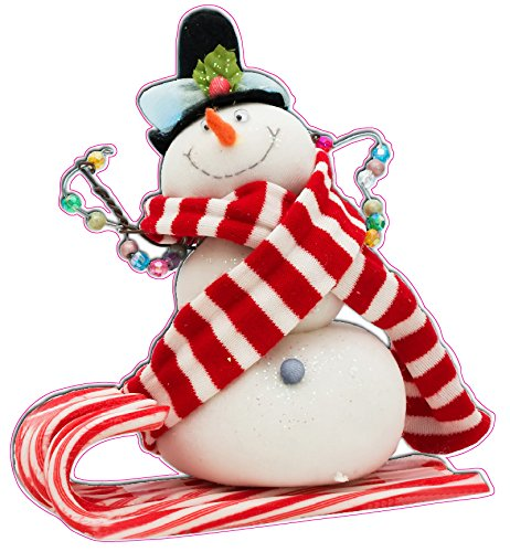 Christmas and Holiday Candy Cane Snowman Window and Wall Decor Decal - 12