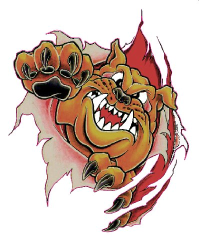Clawing Bull Dog Decal - | Nostalgia Decals Online retro car decals, old school vinyl stickers for cars, racing graphics for cars, car decals for girls