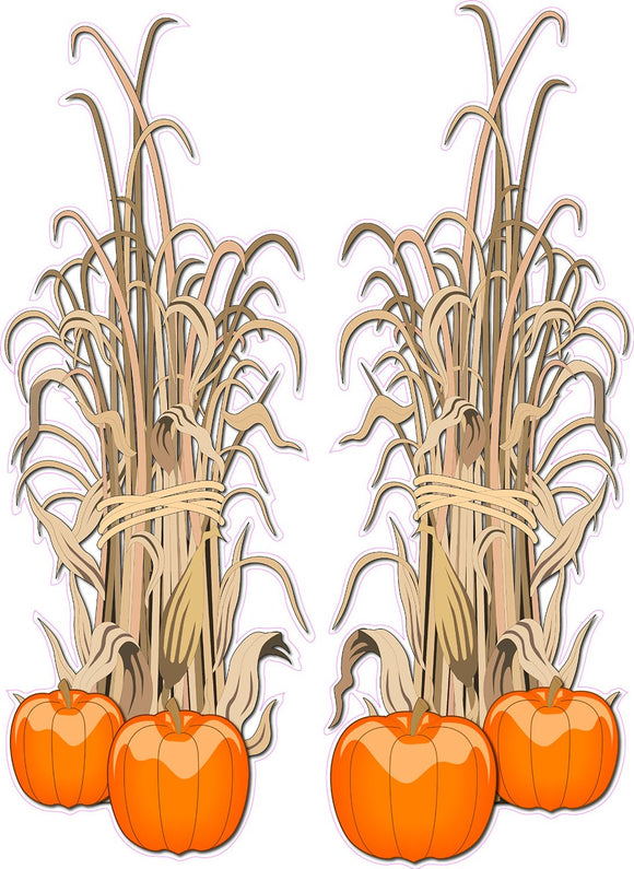 Halloween Corn Stalks Pair Wall Decor Decal - 24