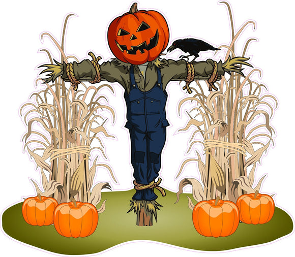 Halloween Corn Stalks and Scarecrow Pair Wall Decor Decal - 24