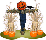 "Halloween Corn Stalks and Scarecrow Pair Wall Decor Decal - 24"" x 20"" 