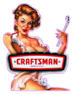 Craftsman Pin Up Girl Decal - | Nostalgia Decals Online pinup girl decals, vinyl pin up girl stickers, pin up girl graphics for cars