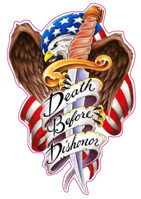 Death Before Dishonor Decal - | Nostalgia Decals Online military window stickers for cars and trucks, army vinyl decals for cars, marine corps vinyl stickers, die cut vinyl navy decals