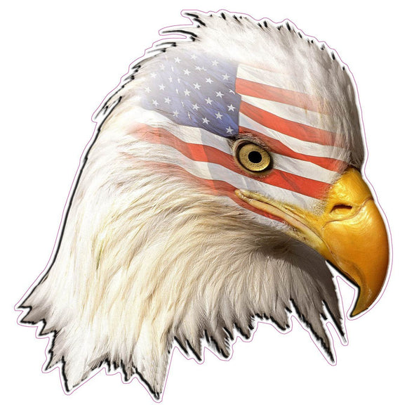Eagle Head American Flag Decal- | Nostalgia Decals Online decal stickers for your car, patriotic vinyl graphics, american flag window stickers, eagle decals