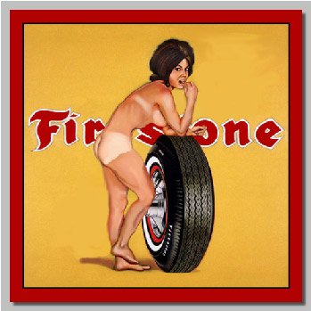 Firestone Girl Decal - | Nostalgia Decals Online pinup girl decals, vinyl pin up girl stickers, pin up girl graphics for cars