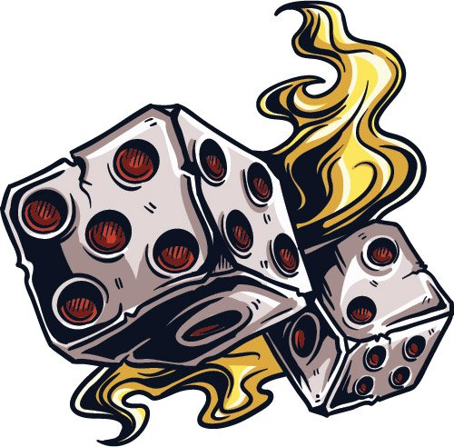 Flames Dice Gambling Decal - | Nostalgia Decals Online retro car decals, old school vinyl stickers for cars, racing graphics for cars, car decals for girls