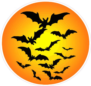 "Halloween Haunted Moon with Bats Wall Decor Decal - Wall Decor - 12"" x 12"" 