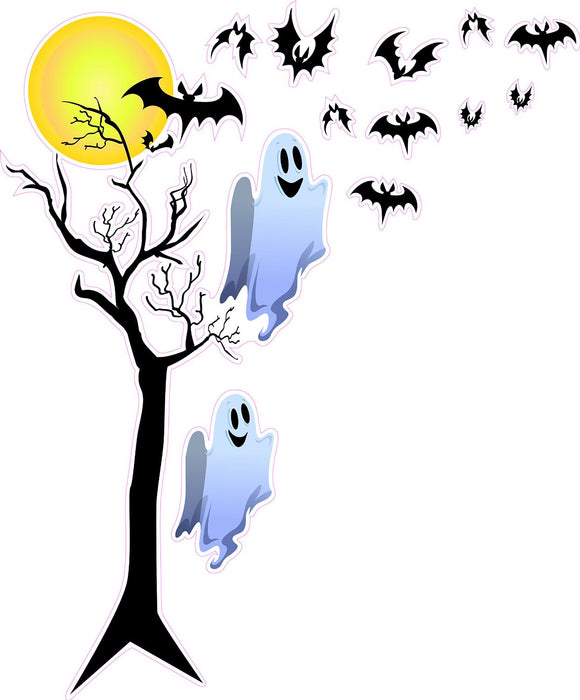 Halloween Haunted Tree with Ghost and Bats Wall Decor Decal - Wall Decor - 12