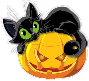 "Halloween Pumpkin with Black Cat Wall or Window Decor Decal - 12""x11"" 