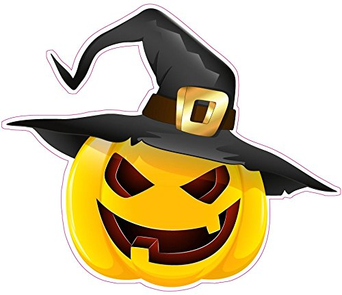 Halloween Pumpkin with Witches Hat Window or Wall Decor Decal - Decal - 6