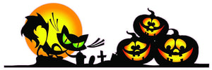 "Halloween Pumpkins with Black Cat Scene Wall or Window Decor Decal - 24""x8"" 