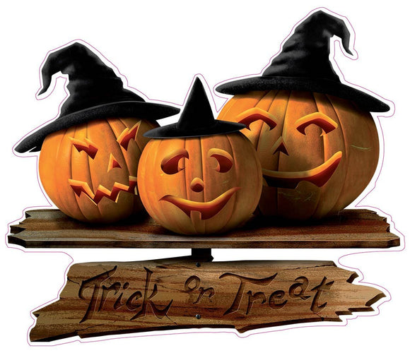 Halloween Trick or Treat Sign with Pumpkins Wall or Window Decor Decal - 12