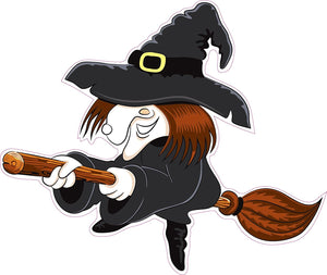 "Halloween Witch Version 2 Wall or Window Decor Decal - 12""x10"" 