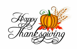 "Happy Thanksgiving Sign Wall or Window Decor Decal - 12""x6"" 