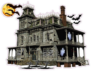 "Haunted House with Bats and Ghost Wall Decor Decal - Wall Decor - 12"" x 10"" 