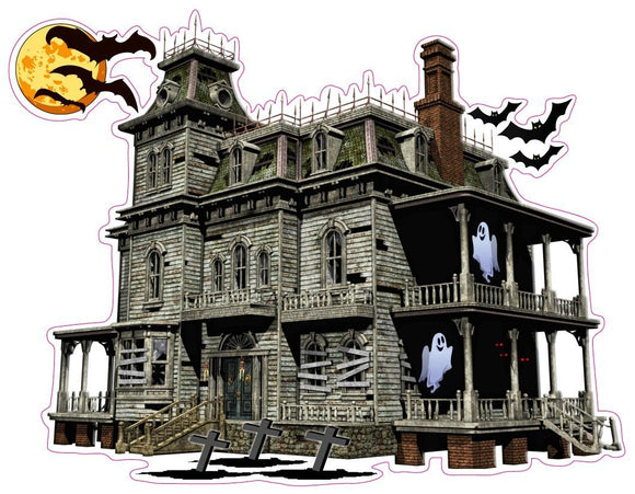 Haunted House with Bats and Ghost Wall Decor Decal - Wall Decor - 12
