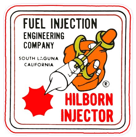 Hilborn Injection Decal- | Nostalgia Decals Online window stickers for cars and trucks, die cut vinyl decals, vinyl graphics for car windows, vinyl wall decor stickers