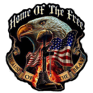 Home of the Free Because of the Brave Decal  | Nostalgia Decals Online military window stickers for cars and trucks, army vinyl decals for cars, marine corps vinyl stickers, die cut vinyl military decals