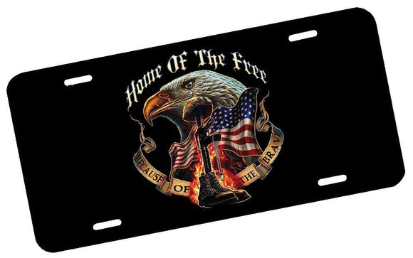 Home of the Free Because of the Brave License Plate - | Nostalgia Decals Online decorative front license plates, flag license plate, decorative car plates, graphic license plates, front license plate decals
