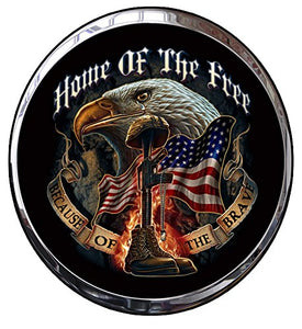 "Home of the Free Because of the Brave Plaque Decal - 5"" x 4"" 