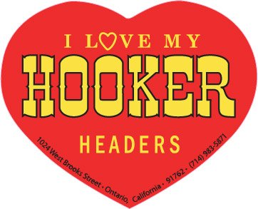 Hooker Headers Heart Decal - | Nostalgia Decals Online retro car decals, old school vinyl stickers for cars, racing graphics for cars, car decals for girls