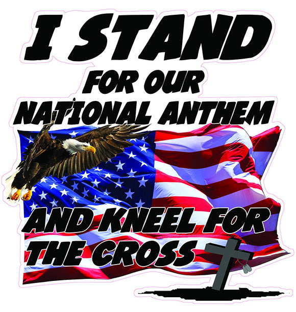 I Stand for Our National Anthem and Kneel for the Cross Version 2 Decal  | Nostalgia Decals Online military window stickers for cars and trucks, army vinyl decals for cars, marine corps vinyl stickers, die cut vinyl american flag decals