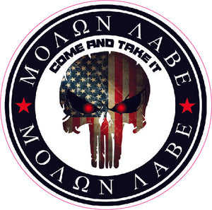 Molon Labe Come and take it Punisher Decal | Nostalgia Decals Online window stickers for cars and trucks, die cut vinyl decals, vinyl graphics for car windows, vinyl wall decor stickers