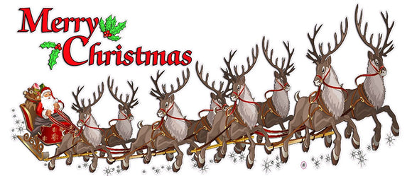 Merry Christmas Santa Claus with Sleigh and Reindeer Window and Wall Decor Decal
