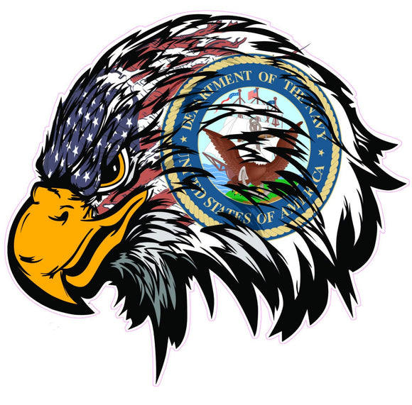 Navy American Flag Eagle Head Decal - 5