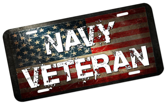 Navy Veteran License Plate - | Nostalgia Decals Online military window stickers for cars and trucks, army vinyl decals for cars, marine corps vinyl stickers, die cut vinyl navy decals