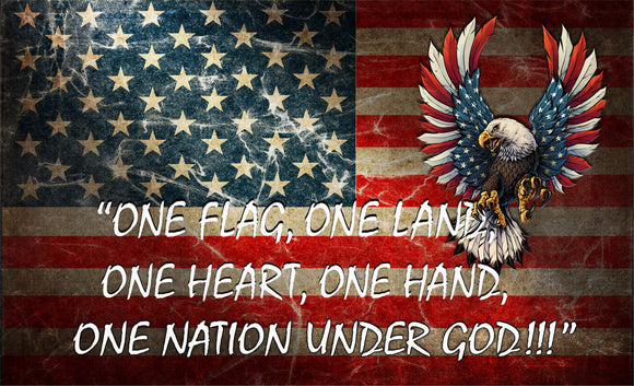 American Flag One Flag, One Land, One Heart, One Hand, One nation under God Decal