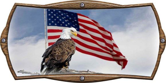 Oak Plaque American Flag with Eagle Decal- | Nostalgia Decals Online window stickers for cars and trucks, die cut vinyl decals, vinyl graphics for car windows, vinyl wall decor stickers