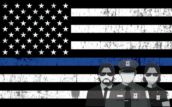 American Flag Thin Blue Line Subdued Decal