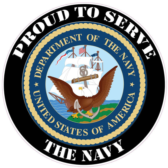 Proud to Serve The Navy Decal - | Nostalgia Decals Online military window stickers for cars and trucks, army vinyl decals for cars, marine corps vinyl stickers, die cut vinyl navy decals