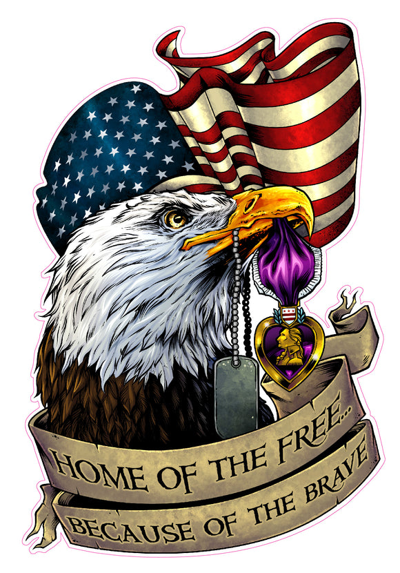 Home of the Free Because of the Brave Purple Heart Decal  | Nostalgia Decals Online military window stickers for cars and trucks, army vinyl decals for cars, marine corps vinyl stickers, die cut vinyl navy decals