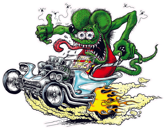 Rat Fink T Bucket Decal - | Nostalgia Decals Online Ed Roth rat fink vinyl decals, rat fink stickers for car windows, ed roth truck window decals