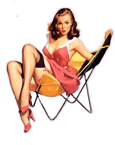 Red Dress Lawn Chair Pin Up Girl Decal - | Nostalgia Decals Online pinup girl decals, vinyl pin up girl stickers, pin up girl graphics for cars
