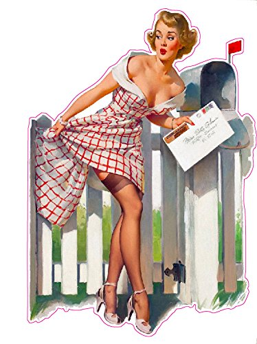 Red Head Picket Fence Pin Up Girl Decal - | Nostalgia Decals Online pinup girl decals, vinyl pin up girl stickers, pin up girl graphics for cars